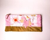 """Zipper Pouch, 4.75x9.75"""" in pink, white, gold, blue and peach dogwood fabric with Handmade Felt Poodle Dog Embellishment, Dog Zipper Pouch"""