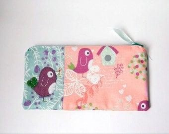 """Zipper Pouch, 9.5 x5"""" in peach, purple, teal, cream, green and pink birds, with Handmade Felt Bird Embellishment, Bird Pencil Case"""