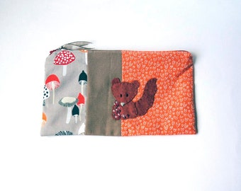 "Zipper Pouch, 9 x 5.5"" in gray, brown, taupe, red and orange print fabric with Handmade Felt Squirrel Embellishment, Squirrel Pencil Case"