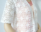 Vintage Handmade Crochet Jacket Cover Up White Lace Short Sleeve Crochet CardiganTop Size Medium Tagged Size Large