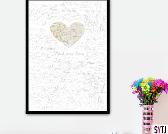 Map Wedding Guestbook Personalized Wedding Guestbook Alternative wedding Guestbook  Paper Map Guestbook Long Distance Wedding Guestbook