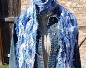 Fiber Art Scarf,Denim and Lace Fiber, Scrappy Scarf, Handmade, Shabby Chic,Blues and White, Long Scarp, Wearable Art, Eco Clothing,  Boho