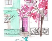 Paris in Pastels, print from original watercolor and mixed media illustration by Jessica Durrant