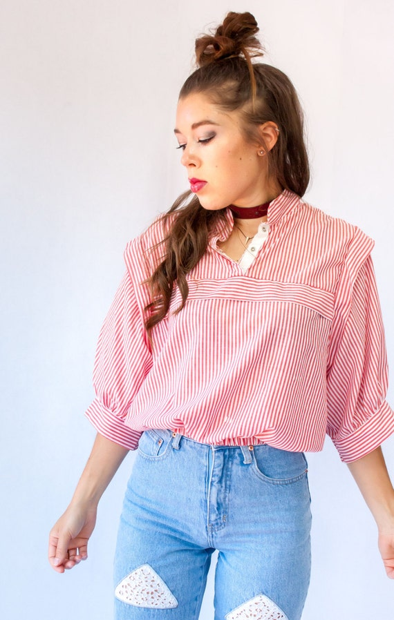 SALE....Cropped Paper Thin Nautical Vintage 80's Red and White Stripe Blouse Preppy Oxford Shirt Dolman Sleeve Top Futuristic Shoulder Pleat