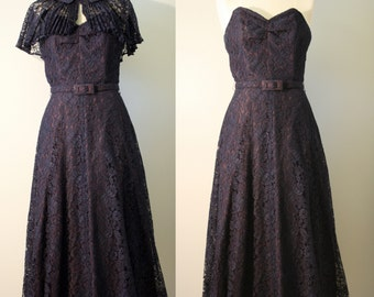 1940s Lace Evening Prom Dress: Navy Blue Lace Strapless Gown with Topper XS 0 2 B32