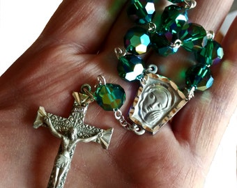 Luck of the Irish...Large Rare Vintage Swarovski Art 5300 Emerald AB Sterling Rosary Decade Chaplet CREED & AFCO Sterling