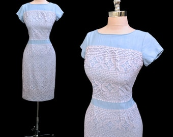 Vintage 1950s Blue Rayon Lilac Lace Hourglass Cocktail Party Dress M