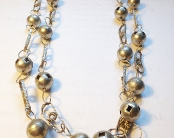 AMAZING boho Silvertone Long Layering Necklace // Handmade Vintage BOHEMIAN Necklace // Balls & Chain Links