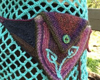 Leafy Rainbow Purple Double Pocket Pouch