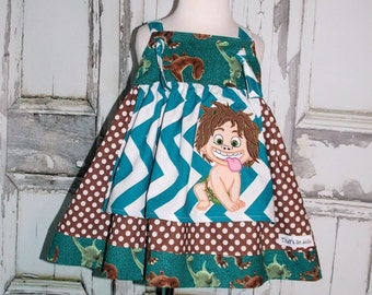 Good Dinosaur Spot Apron Knot Dress 2 3 4 5 6 7 8 10 12 14 Custom Boutique Birthday Party Arlo Disney Pixar Movies Chevron