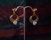 Vintage Delicate Rose Hoop Earrings