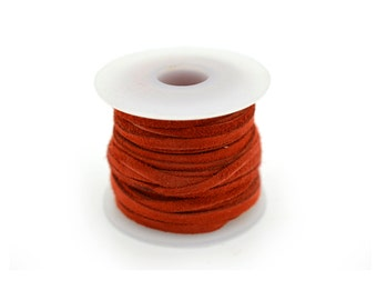 Flat Suede  Cord, 2mm, 10 Meters,   Suede  Cord,  Necklace Cord, Burnt Red -JC17