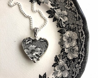 Broken china jewelry antique black and white English transferware heart pendant necklace recycled china