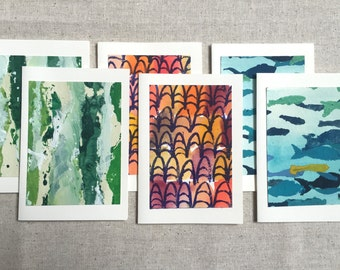 set of six hand painted pattern greeting cards including moroccan shoes, birch bark and fish