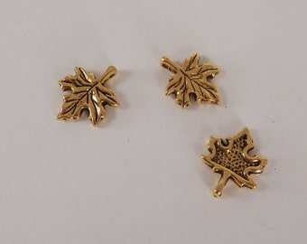 10 Leaf Charms, Gold Plated, DIY Jewelry, Findings, Supplies