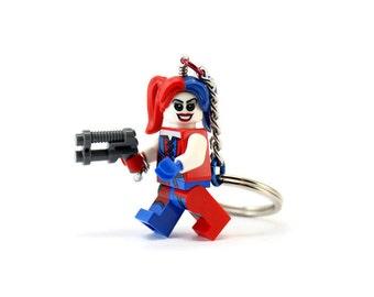 Harley Quinn Keychain made from NEW Superhero LEGO® Batman Minifigure
