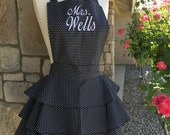 Black and White Diva Apron with Embroidery!