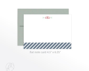 Personalized Flat Note Cards, Custom Monogrammed Stationery Set, Personal Thank You Notes, Notecard set