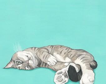 Custom Pet Portrait - Cat Portrait - 11x11 Painted Portrait - Original Painting - Fathers Day Gift Idea - Custom Cat -  Pet lover Gift Idea