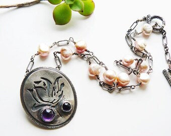 Silver rose pendant necklace - pierced silver pendant - silver flower - amethyst pendant - nature jewelry - artisan crafted