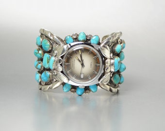 Vintage Navajo Turquoise Watch Band, Old Pawn Native American Silver Jewelry, Chunky Watch Band, Silver and Turquoise Southwest Bracelet
