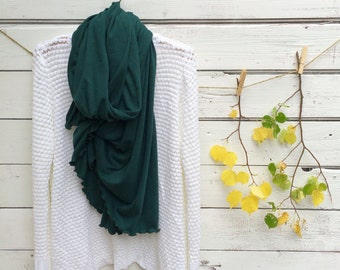 Dark Green Scarf, Oversized Scarf, Long Scarf, Fall Scarf, Emerald Green Scarf, Chunky Scarf, Winter Scarf, Wrap, Shawl, Jersey Scarf