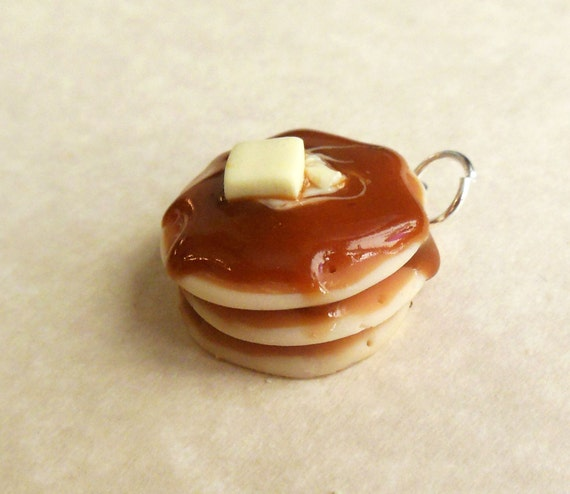 Polymer Clay Buttery Pancake Charm, Bag Charm, Key Ring, Cell Phone Charm