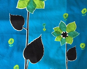 SALE Item OP Vintage 70s Psychedelic Neon Flower Print// Teal/Lime Green Flowers on Turq Grnd/All Cotton Wall Art/OP