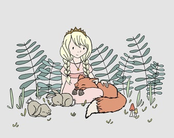 Girl Nursery Art -- Princess of the Forest -- Children Art Print -- Kids Wall Art