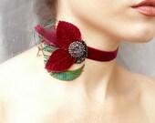 Victorian Burgundy Velvet Choker - Vintage Jewel Feather Collar - Baroque Burlesque Romantic Prom Wedding