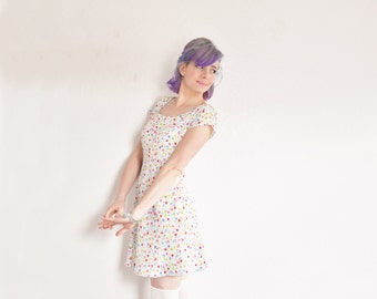 ditzy floral Esprit dress . tiny rainbow flower print . 90s babydoll frock .medium