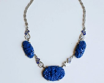 1930s molded glass floral silver necklace / 30s vintage cobalt blue glass flowers with enamel floral accents