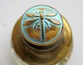 NEW GOLDEN DRAGONFLIES .  Czech Art Glass Buttons, Hand painted Bohemian Glass (1 piece)