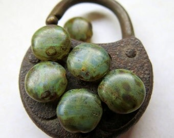 NEW MOSSY COINS . Czech Picasso Glass Beads . 10 mm (8 beads)