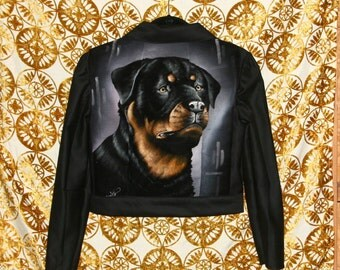 Velvet Painting Jacket / Rottweiler Jacket / Black Bomber Jacket Size S