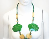 Vintage 1980s Large Green Wooden Statement Fish Necklace