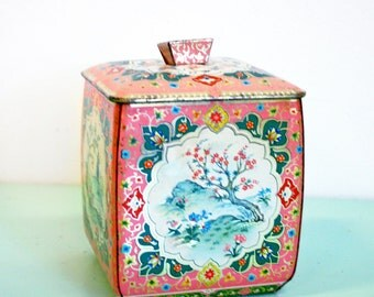 Vintage 1950s Pink Dogwood Floral Tin Container - Metal Box Company Made In England