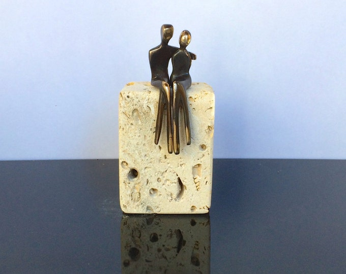 Small Bronze sculpture, Romantic Pair a miniature bronze figurine renew your vows or tie the knot, precious mini sculpture, arm around her