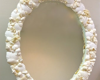 "Beach Decor - Large Oval Seashell Mirror - 36"" x 42"""