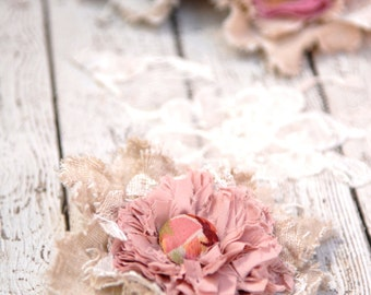 Shabby Tattered Corsage Brooch flower corsage in soft pink and cream, french sash flower, Woodland bride