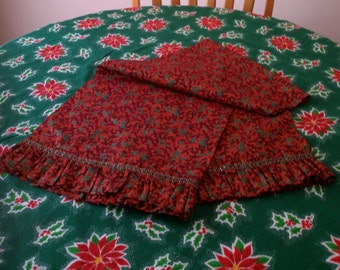 Handmade Christmas Holly Berry Red Ruffle 60 inch Table Runner