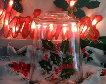 Vtg Bartlett Collins Glass Holly and Berry Holiday Cookie Jar