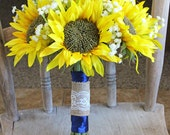 Custom Listing for Corah - Rustic Navy and Burlap Lace Sunflower Wedding Bouquet Boutonnieres and Corsages Set