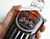 Etched Flask, Corporate Gift, Swing-Top 16oz Glass Flask Decanter with Personalized Design, Wedding gift, Man Cave, Bar Decor, Just Married