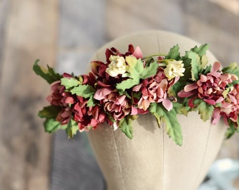 Rustic flower crown, woodland headband, leaf crown, floral headpiece, hair wreath, mauve flower crown, hair accessories, flower girl crown