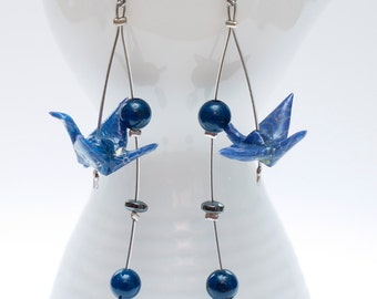 Origami earrings in blue paper with hematite and agate beads