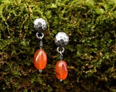 Carnelian Dangles - Sterling Silver Stones - Small Dangles - Drop Earrings - Unique Earrings - Gift for Her - Post Studs