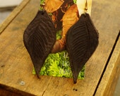 """Earrings 3"""" Chocolate Brown Leather Leaf, Woodsy, Leaves, Autumn, Fall, Unique, Handmade, Lightweight, Soft, Dangle, Woodland"""