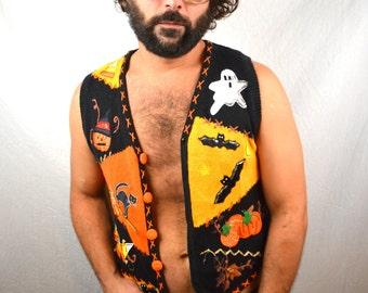 Vintage 1990s Beaded WOW Ugly Halloween Cardigan Sweater Vest