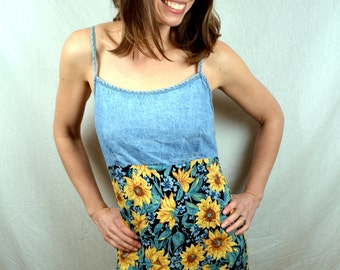 Vintage 80s Sunflower Maxi Summer Dress - California Concepts